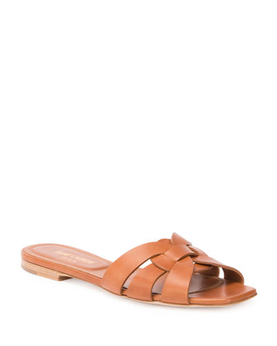 Woven Leather Sandal Slide