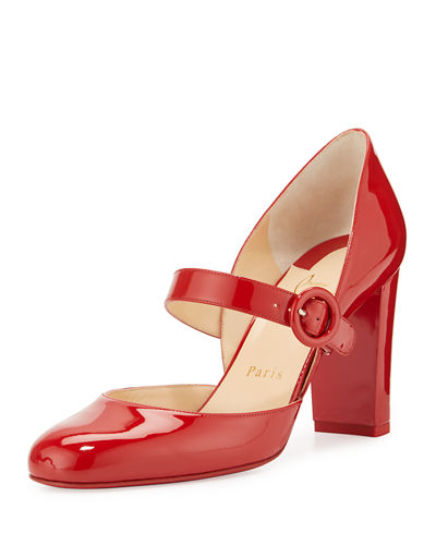 Miss Ka Patent Mary Jane Red Sole Pump