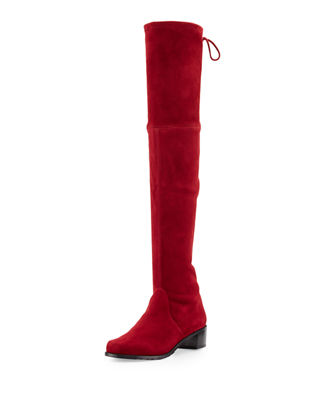 STUART WEITZMAN Lowland Suede Over-The-Knee Boot, Scarlet Suede in Black