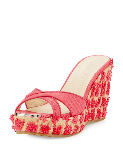 Jimmy Choo Pandora Raffia Wedge Sandal