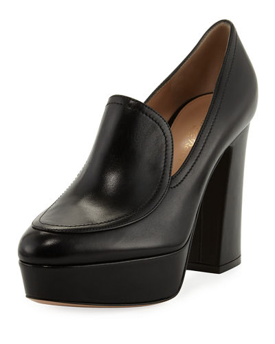 Gianvito Rossi Platform Leather Loafer Pump