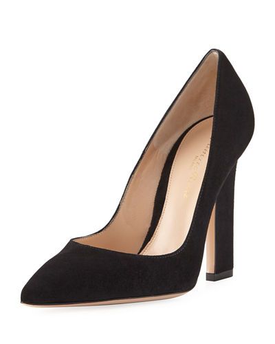 105mm Wide-Heel Suede Pump