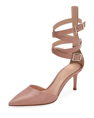 Gianvito Rossi Leather Ankle-Wrap d'Orsay Pump