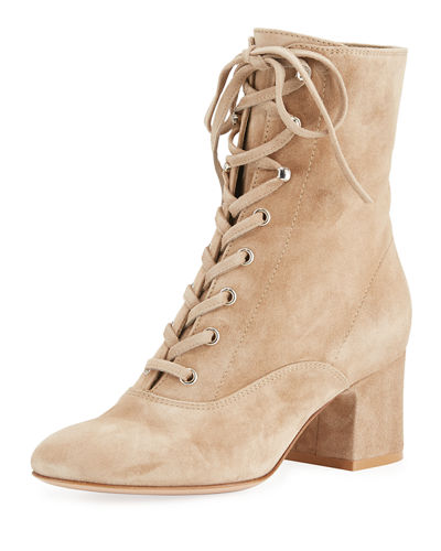 Suede Lace-Up Chunky Bootie