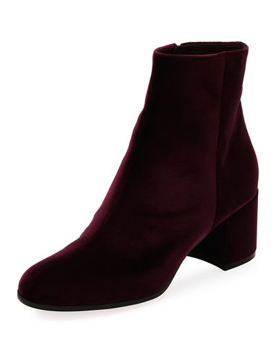 Margaux Mid Bootie Velvet 60mm Block-Heel Ankle Boot