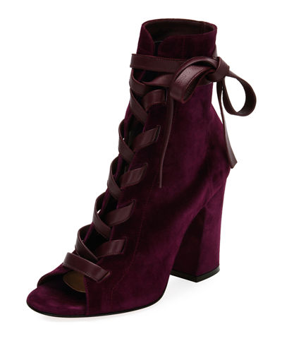 Gianvito Rossi Brooklyn Suede Open-Toe Lace-Up Bootie