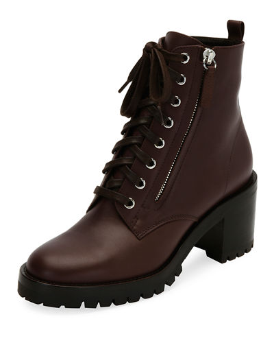 Leather Lace-Up Chunky Bootie