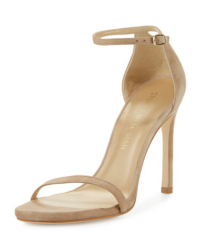Nudistsong Suede Ankle-Wrap Sandal, Sand