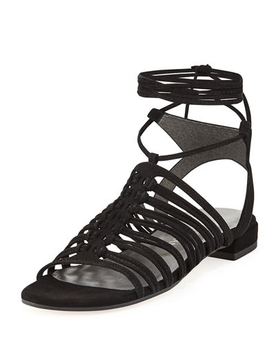 Knotagain Lace-Up Flat Sandal