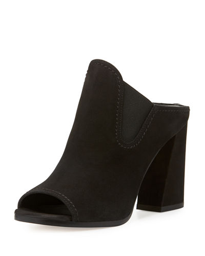 Slideup Nubuck Leather Open-Toe Mule