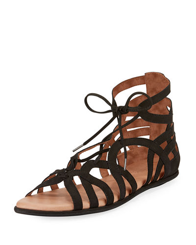 Break My Heart Flat Nubuck Gladiator Sandal