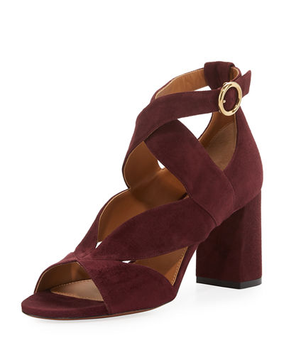 Chloe Graphic Leaves Cutout Suede Sandal
