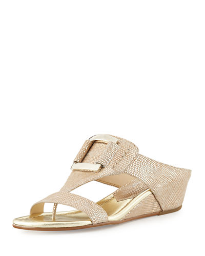 Donald J Pliner Daun Buckle Leather Wedge Sandal