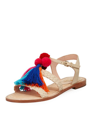 Kate Spade New York Sunset Tasseled Pom-Pom Sandals