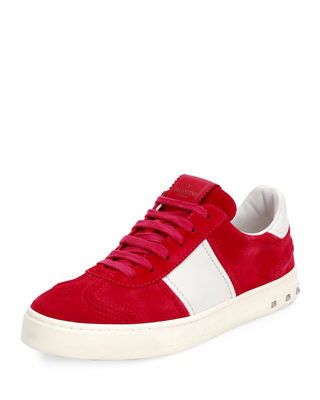 FLY CREW SUEDE LOW-TOP SNEAKER, FUCHSIA, BLUE/WHITE