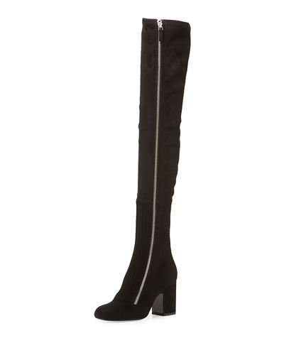 Over-The-Knee Suede Zip-Up Boot