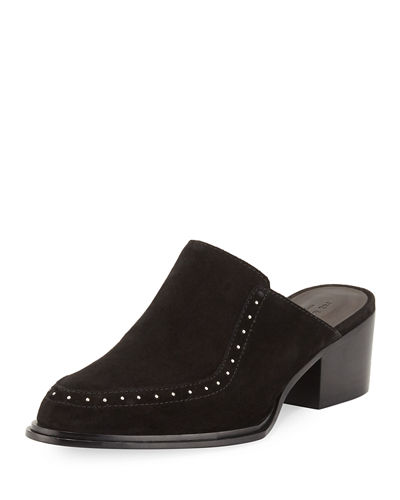 Weiss Studded Suede Flat Mule