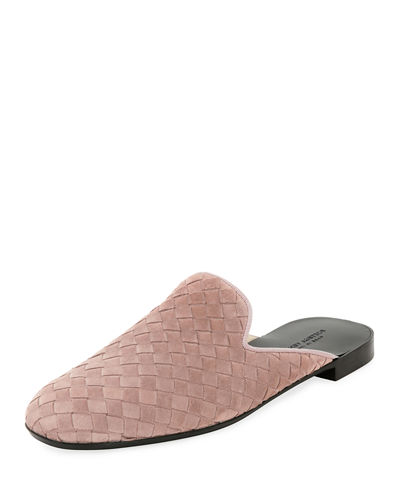 Flat Woven Leather Mule Loafer