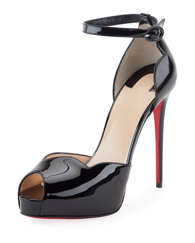 Aketata Patent Ankle-Wrap Red Sole Pump