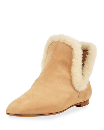 Eros Shearling-Trimmed Nubuck Boot