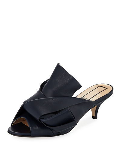 Pleated Leather Low-Heel Slide Sandal