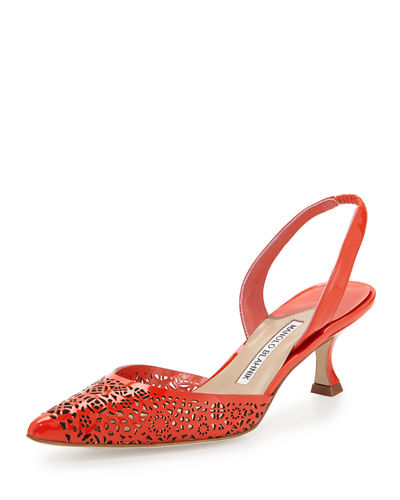Carolyne Laser-Cut Low-Heel Halter Pump