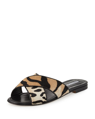 Otawi Calf-Hair Flat Slide Sandal