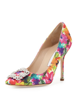 MANOLO BLAHNIK Hangisi Printed Fabric 105Mm Pump, Brown Metallic at Neiman Marcus