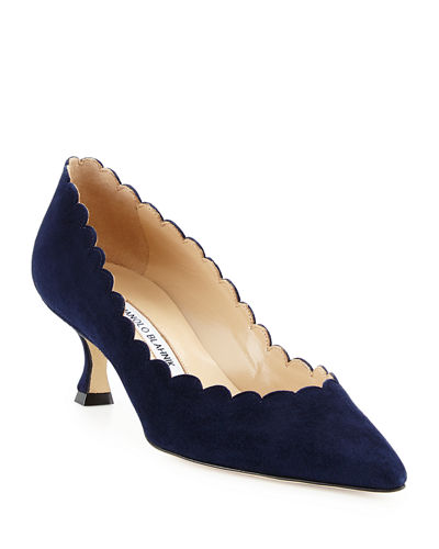 Srilasca Scalloped Suede Kitten-Heel Pump