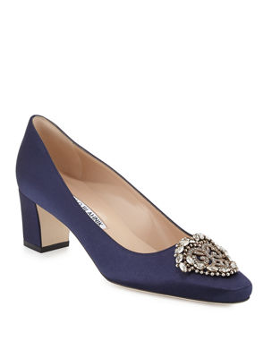 Manolo Blahnik Okkato Jeweled Satin 50mm Pump