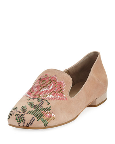 Hiro Floral-Studded Suede Loafer Flat