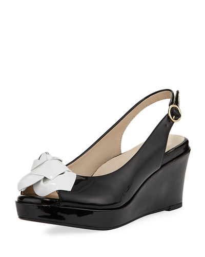 Star Patent Flower Slingback Wedge Sandal