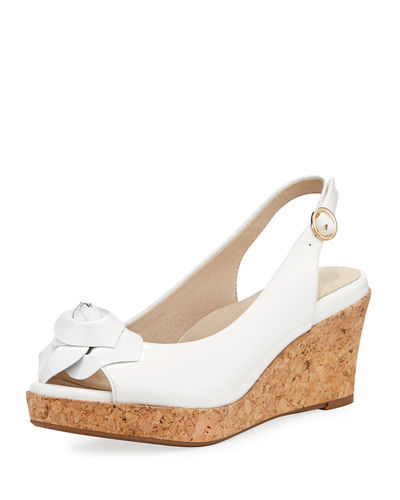 Star Patent Flower Slingback Wedge Sandal, White