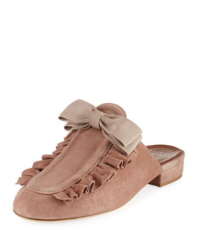 Planet Ruffle Suede Bow Flat Mule