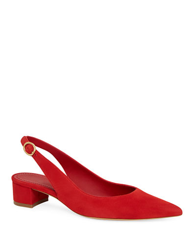 Smooth Suede Slingback Pump