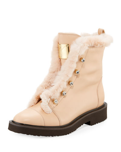 Hilary Fur-Lined Leather Boot with Crystals