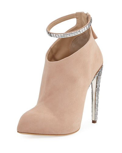 Frida Suede & Crystal Ankle-Strap 120mm Bootie