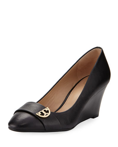 Sidney Crinkled Leather Wedge Pump