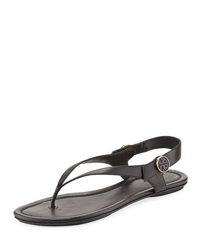 Tory Burch Minnie Leather Flat Travel Sandal