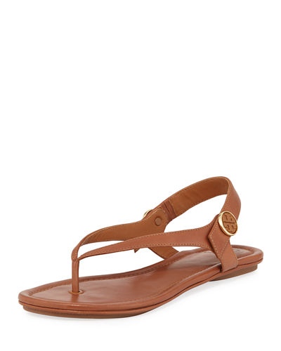 a9b7772956f Tory Burch Miller Leather Logo Flat Slide Sandal from Neiman Marcus ...