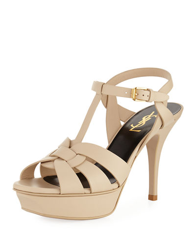Tribute Mid-Heel Leather Platform Sandal