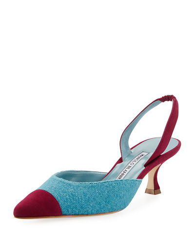Manolo Blahnik Carolyne Tweed Low-Heel Halter Pump