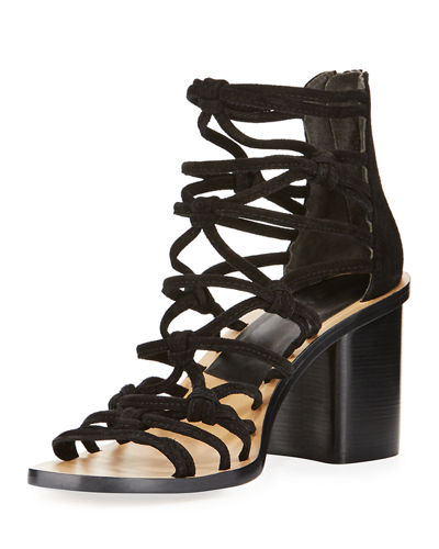 Camille Caged Macrame Mid-Heel Sandal