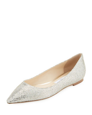 Romy Glitter Fabric Ballerina Flat by Jimmy Choo