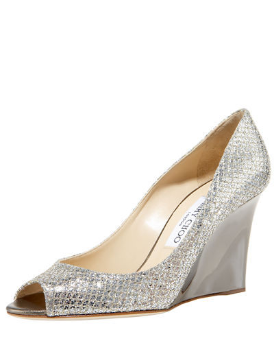 Baxen Glitter Peep-Toe Wedge Pump