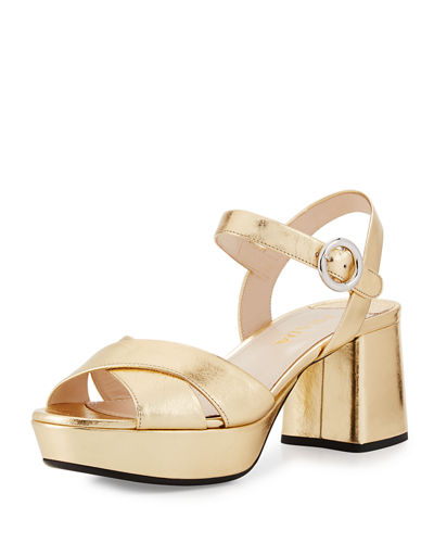 Leather Crisscross Ankle-Wrap 65mm Sandal