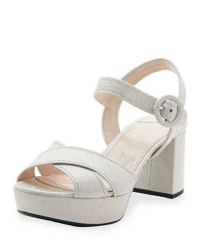 Crisscross Leather Platform Sandal