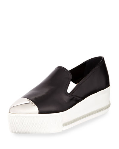 Platform Cap-Toe Leather Slip-On Sneaker