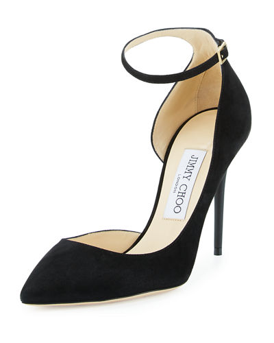Jimmy Choo 100mm Lucy Suede Ankle Strap