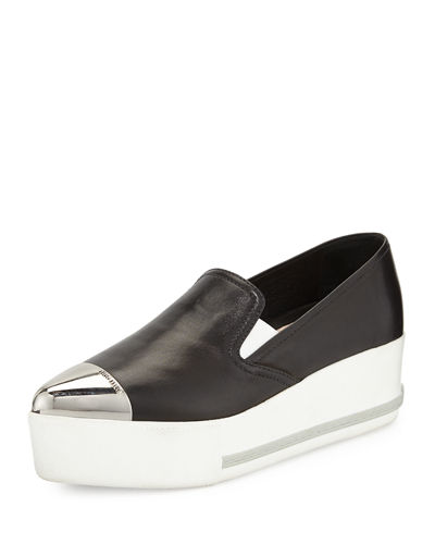 Miu Miu Leather Cap-Toe Platform Sneaker
